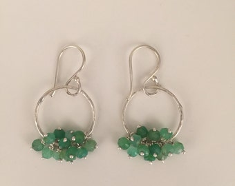 Sterling silver chandelier earrings with faceted chrysoprase clusters
