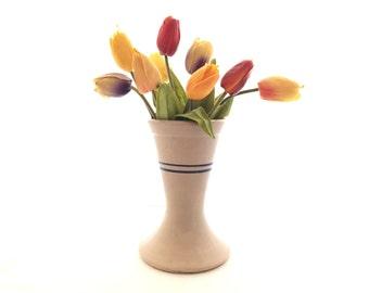 Vintage Stoneware Vase, Blue Stripes
