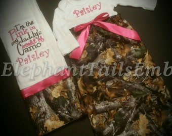 Baby Girl Camo Gown Set- I'm the Pink in My Daddy's World of Camo- baby gown and burp cloth- country baby gift