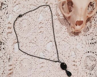 SALE!!! Onyx Bead and Green Teardrop Pendant Necklace