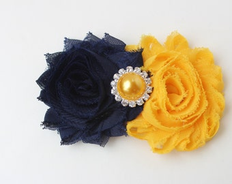 Navy blue flower girl hair clip, navy blue and yellow hair bow, navy blue and mustard hair clip, toddler hair bow, mustard hair clip