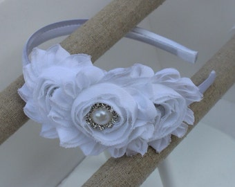 white headband white flower girl headband white wedding headband plastic satin headband toddler headband flower girl outfit girls headband