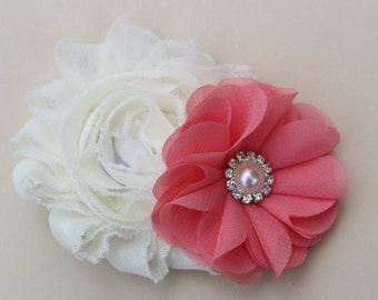 Coral flower girl hair clip, coral and ivory hair clip, coral and ivory hair piece, coral junior bridesmaid hair clip ivory and coral