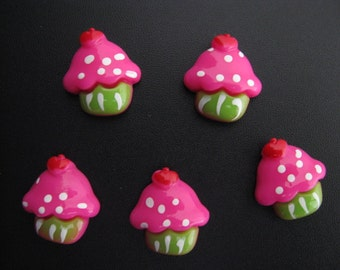cupcake resins cabochons pink green party resins 5 per packet