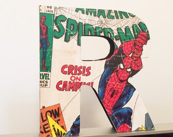 Marvel Comic Superhero Themed Hand Decorated Wooden Freestanding Letters.