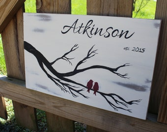 Rustic Family Name Sign - Love Birds On A Tree Branch - Hand Painted Vintage Sign