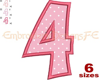 Number 4 Applique - 6 Sizes - Machine Embroidery Design File