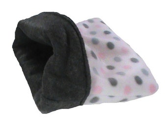 Small amimal snuggle bag, pink and gray dots, guinea pig, ferret, hedge hog, rat, gerbil, hamster
