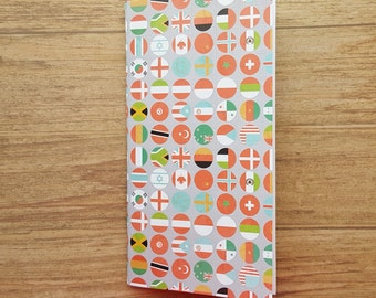 Travel flag theme midori cover notebook journal refill with blank paper