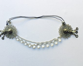Touched glass / Ethnic headpiece / kuchi / Crystal / silver / plated kuchi touched / tribal fusion / headpiece handmade / headpiece / metal