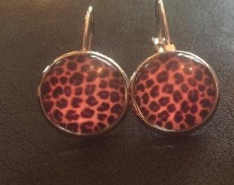 Sale animal print pink black silver dangly earrings
