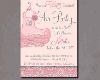 Tutu Baby Shower Invitation printable/Digital File/Tutu excited, baby girl shower, pink and silver, pink and gray/Wording can be changed