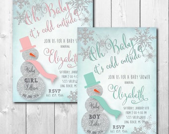 """Baby Shower Invitation...""""Oh BABY it's cold outside!"""" with silver glitter detail/DIGITAL FILE / printable / wording can be added or changed"""
