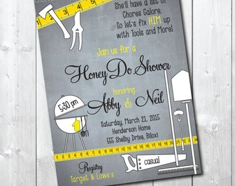 Couples Honey Do Shower Invitation / tool and garden / chalkboard background / printable / digital file/ wording can be changed