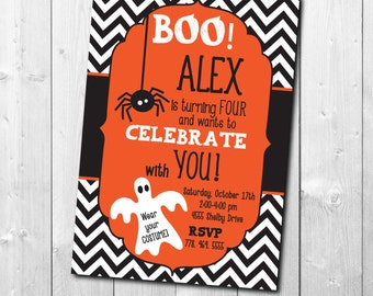 "Halloween Birthday Invitation..""BOO!"" / digital file / printable / wording can be changed"