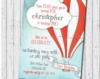"Hot Air Balloon Birthday Invitation --""Time Flies..."" / digital file or printing / wording can be changed to fit any age"