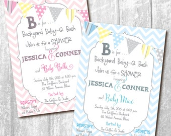 Baby Q Invitation Couples Shower printable/Digital File/baby q bash, backyard, bbq, cookout, grilling, beer/Wording & Colors can be changed