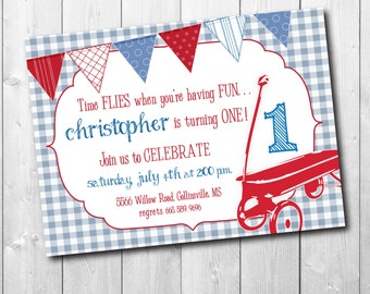 Red Wagon Birthday Invitation, boy first birthday, time files invitation, vintage red wagon/Digital File/wording & age can be changed