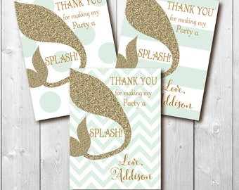 Mermaid Swim Party Favor Tag to match Invite / digital file/ printable / 3x4 / 4 up on a sheet / wording, colors and size can be changed