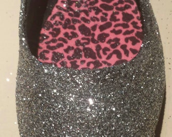Silver Glitter Flats Two Pair