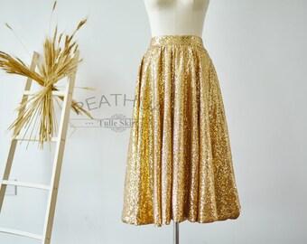 Gold Sequin Skirt/Midi Length Tea Length Short Adult Women Skirt/Wedding Bridal Bridesmaid Skirt