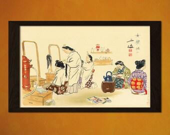 Japanese Art - Wada Sanzo Hair Dresser 1940 - Ukiyo-e Art Home Decor Oriental Decor Asian Art Edo Period Japanese Artist  t
