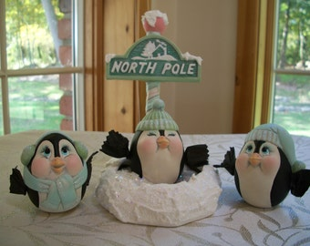ceramic Christmas,winter penguins,set of 3,with Northpole sign and base