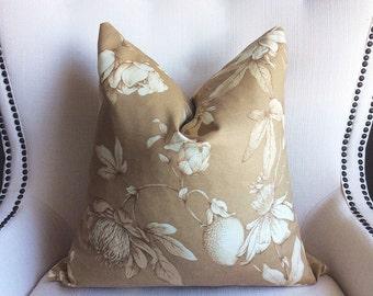Beige Pillow Cover, Decorative pillow cover, wild flowers design pillow, pillow case