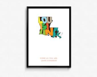 Louisiana Typography Map, Louisiana Printable, Louisiana Poster, Louisiana Print Art, Print Art, Typography, Map Poster, Digital Print