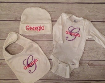 Baby gift set!!! Custom monogrammed onesie, bib, and hat in white!