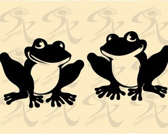 Frogs Two,SVG,DXF, png, eps, jpg,Vector_ Download files, Digital, graphical, AI