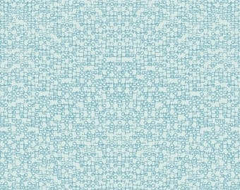 Paper Word Text Fabric - Paper Obsessed by Heather Givans for Windham Fabrics - Time to Write in Cerulean - Fabric By the Half Yard
