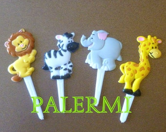 Safari Zoo animals Cupcake Toppers Plastic, Zoo Animals Cupcake Topper Picks, Animal Safari Cupcake Picks, Jungle Safari Cake Topper