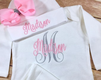 Baby Girl Coming Home Outfit, Newborn Girl Outfit, Personalized Baby Girl Coming Home Outfit,  Newborn Girl Baby Gown Baby Shower Gift