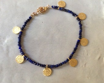 lapis lazuli boho bracelet and gold-plated coins