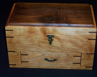 Cherry/Walnut Jewelry/sewing Box With Drawer
