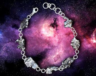 Space Bracelet with Real Meteorites - Sterling Silver