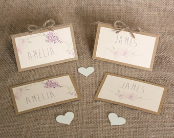 Floral Wedding Table Place Cards Rustic Table Card Handmade Card Chic Elegant Wedding Table Names Decoration 2D and Free Standing With Twine
