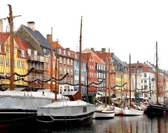 Copenhagen, Nyhaven, Denmark, Photography, Fine Art, Travel Photography, Copenhagen Print, Houses, Boats, Wall Art