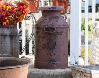 Antique Milk Can Large Primtitive Early Drop Forged Handles KW Distressed Farmhouse Antiques Rustic Decor Lancaster PA Dairy Can