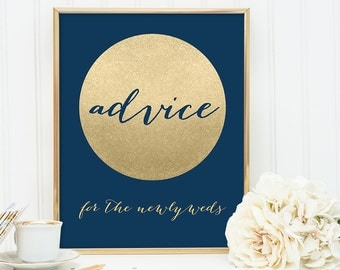 Advice Sign DIY / For The Newlyweds / Navy and Gold Wedding Sign / Metallic Gold Sparkle Circle / Champagne Gold ▷ Instant Download JPEG