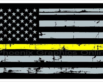 Thin Gold Line Thin Yellow Line Dispatcher Flag Distressed Reflective Decal  #6182