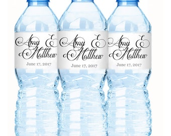 Wedding Water Bottle Labels, Personalized Water Bottle Labels, Waterproof Label, Bridal Shower Labels, Welcome Bags, Modern Wedding Labels