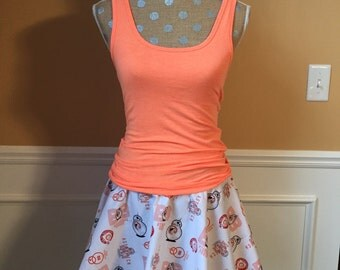 BB Unit Droid  Robot Inspired Running costume outfit skirt and matching Tank