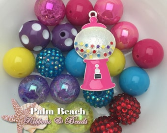 DIY Bubblegum Candy Machine Necklace and/or Bracelet Bead and Pendant Assortment
