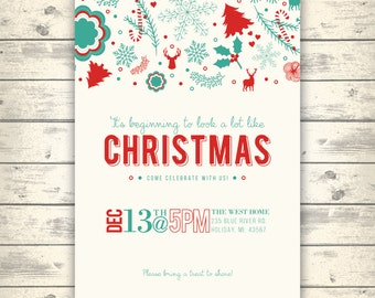 Christmas Party Invitation, Vintage Teal & Red, Digital