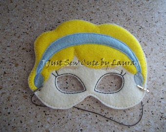 Cinderella machine embroidered mask for kids