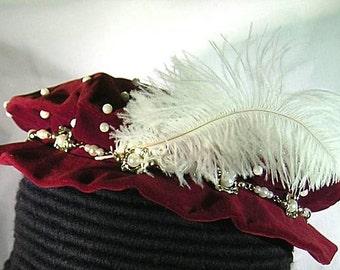 Tudor - Elizabethan Velveteen Flat Cap with Pearl Hatband - Renaissance
