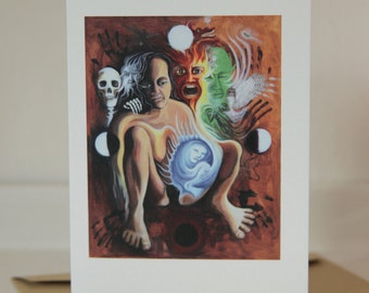 Cyclical Woman Greetings Card 105mmx148mm, Envelope and cellophane wrapping, Recycled Card