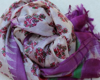 Paper Silk Scarf- Hand Weaved and Hand Printed